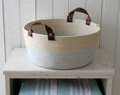 coiled rope tote basket with leather handles, gold and blue stripes, soft flexible basket for kids toys, handmade storage basket