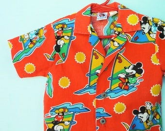 Vintage  Infant Boys Windsurfin' Mickey Mouse Shirt     12-18 Months