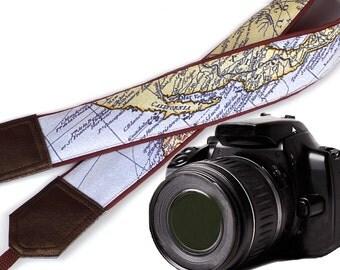 Brown camera strap. California Map Camera Strap. DSLR / SLR  camera strap for Sony, canon, nikon, panasonic, fuji and other cameras.