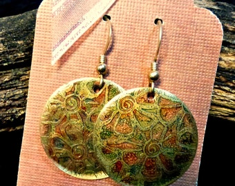 Handcrafted Etched Brass Earrings #70359