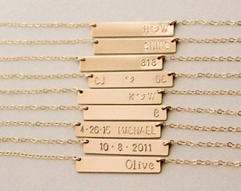 Gold Bar Name Necklace - Personalized Bar Name Plate Necklace - Hand Stamped Name Necklace - Gold Filled - Bridesmaids Gift