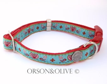 Birds of Paradise (Turquoise Red) Designer Dog Collar  - Available in 3 sizes (XS, S, M)