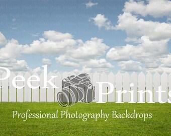 4ft.x3ft White Picket Fence Vinyl Photography Backdrop