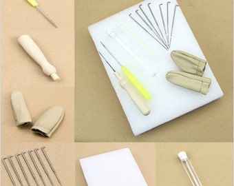 1 Set Needle Felting Starter Kit Wool Felt Tools Mat Needle Accessories Craft Small Replacement Needles Leather Finger Cots Foam Pad