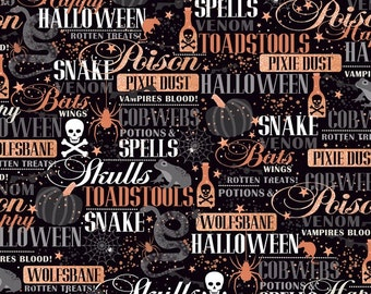 Potions and Spells Copper metallic words on black cotton fabric, Quilting Treasures