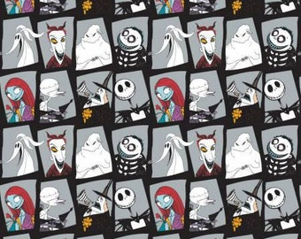 The Nightmare Before Christmas, Jack and Sally Stone Character Blocks cotton fabric by Camelot Fabrics