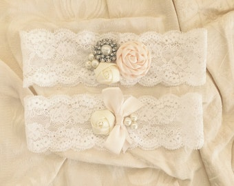 Handmade Wedding Garter /  Garter Set / Bridal Garter in Tan and Ivory