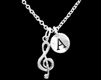 Initial Necklace, Treble Clef Necklace, Music Note Necklace, Marching Band Necklace, Singer Christmas Gift Necklace