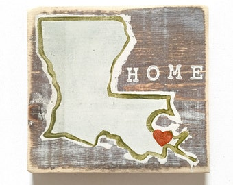 Louisiana Heart (New Orleans): Wood Sign, New Orleans Art, New Orleans Gift, NOLA Art, Home Art, Southern Art