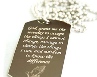 Serenity Prayer  dog tag