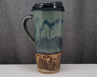 Made to Order* Pottery Travel mug / Commuter mug with silicone lid - Coral Blue/ Cityscape