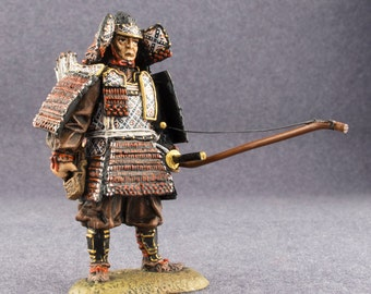 Samurai Action Figurines with Bow 1/32 Scale Medieval Japan Toy Soldier HandPainted 54mm Tin Miniature Collection