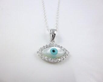 Evil Eye Necklace, Sterling Silver Evil Eye, Dainty Charm Necklace,