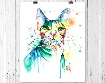 PETERBALD PRINT, peterbald, watercolour, peterbald art, sphynx art, sphynx print, sphynx watercolour, cat art, cat print, cat watercolour