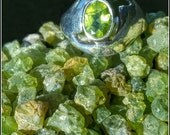 Chunky Hipster Bohemian Faceted Peridot and Sterling Silver Rings. UNUSED VINTAGE STOCK. Estate style.  Sizes: 6 - 6.5 - 7.5