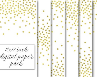 12x12 inch gold stars confetti png digital paper pack glitter pattern background diy christmas printable scrapbooking paper gold foil stars