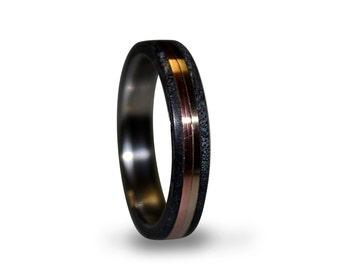 Titanium Ring, Womens Titanium Wedding Band, Wedding Ring, Wooden, Wood Ring, Blue Box Elder Burl, Copper Ring, Bronze Ring