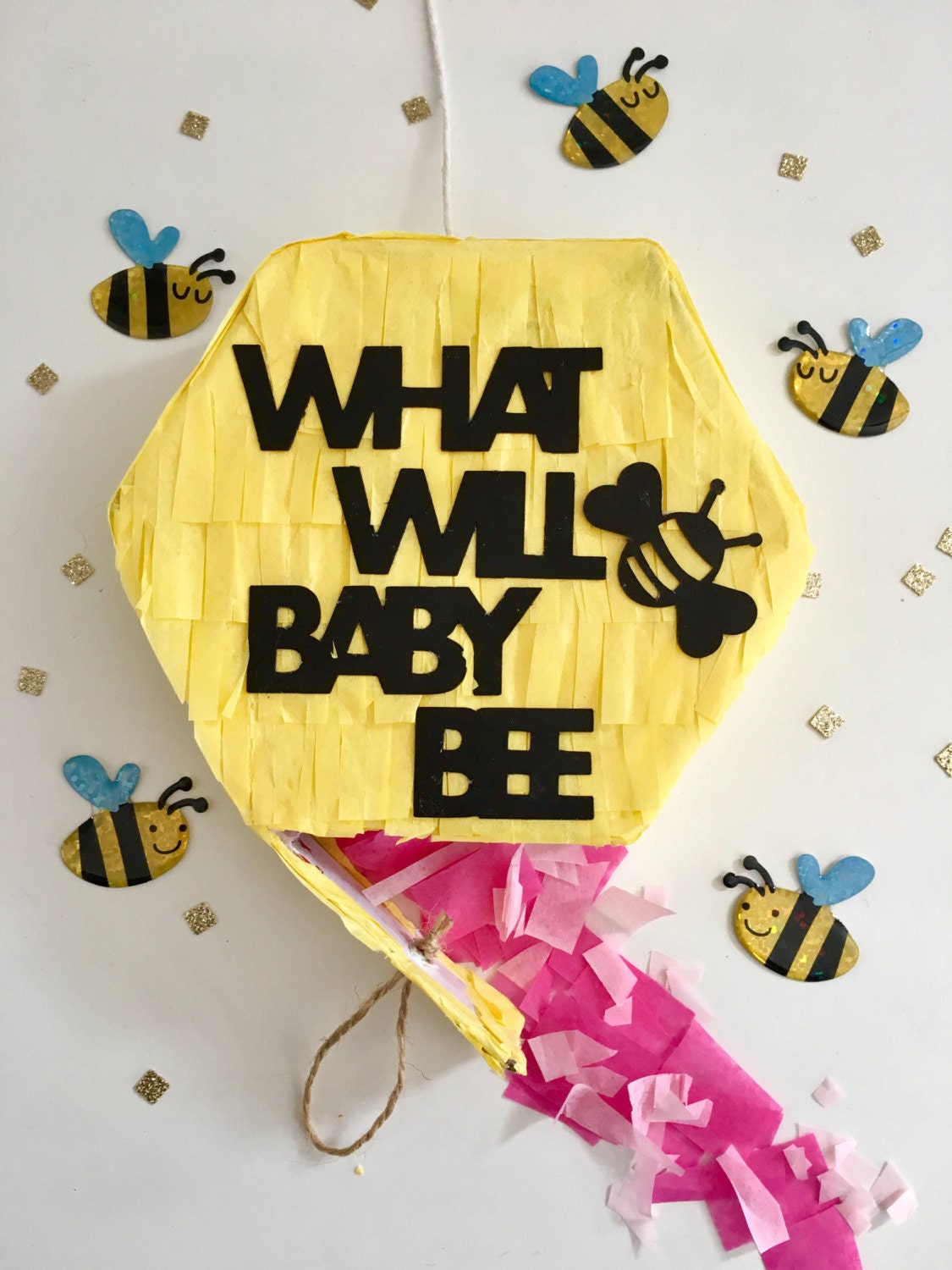 Gender Reveal Pull String Pinata Announcement What Will Baby Bee Were Having A Balloon Pop Box