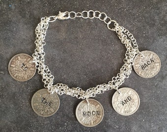 To The Moon And Back Handstamped Bracelet
