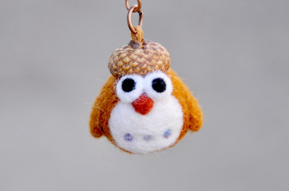Amigurumi Owl Keychain : Needle felted owl keychain owl miniature keychain amigurumi