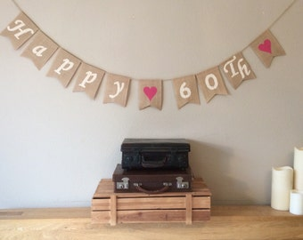 60th Birthday Bunting Banner. Vintage Hessian Rustic