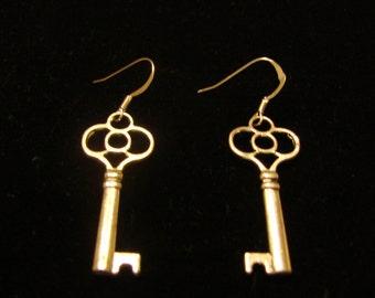 Key Silver Tone Dangle Earrings