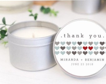 Personalised wedding favours / bomboniere / Place Card Soy candle tins. Row of Hearts design by Mahina