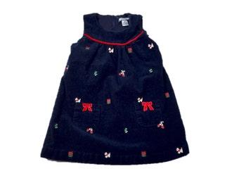 Vintage Corduroy Girl's Christmas Dress / 3T
