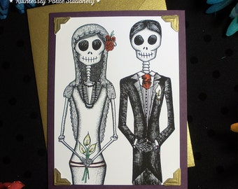 Bride + Groom in 'Gilded Plum' / Calavera Wedding Handmade Greeting Card