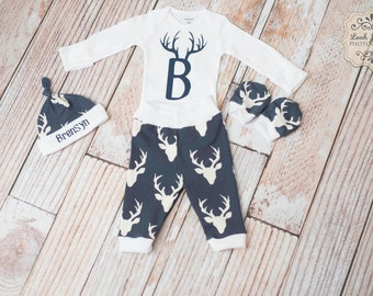 Newborn Coming Home Baby Deer Antlers/Horns Bodysuit, Hat, Scratch Mittens Set with White and Navy+ Antler Initial Bodysuit