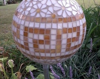 Greek Key and Floral Stained Glass Mosaic Garden Orb, Garden Ball