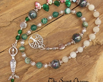 Daughter Of The Forest Pagan Prayer Beads - Witches Ladder - Witches Rosary - Spell Casting - Wiccan Meditation Beads - Celtic Worry Beads