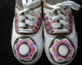 Donut Sweet Treat Hand Painted Sneaker Girls size 10
