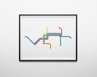 TRIMET Transit Map Portland, Oregon Metro Light Rail Train Map Minimalist Print
