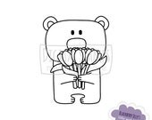 Digital Stamp - Bear with flowers, Tulips