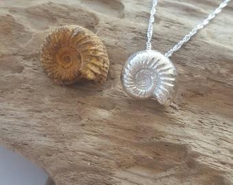 Fine silver Ammonite pendant