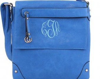 Blue Crossbody/Messenger Bag with FREE MONOGRAMMING