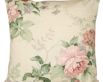 Sanderson Rosamund Pink Floral Vintage Cushion Cover 16''