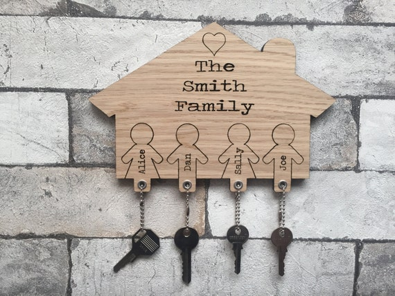 Personalised family key holder and key rings for Mural key holder