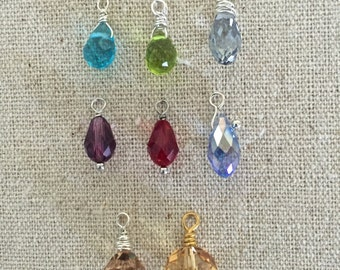 Interchangeable Drops - Crystal Briolettes - for Heart Scroll & Bass Cleff Earrings
