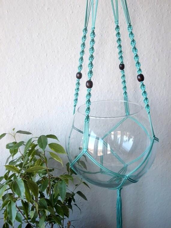 Macrame Hanging Planter Turquoise Modern Macrame Plant