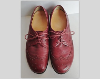 Comfortable 40s Vintage Leather Oxford Laced Up Shoes // Red Brown //  Size 39
