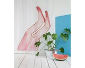"""Fun Shower Curtain """"Exit with a kiss"""" by Kottie Paloma 71"""" x 71"""""""