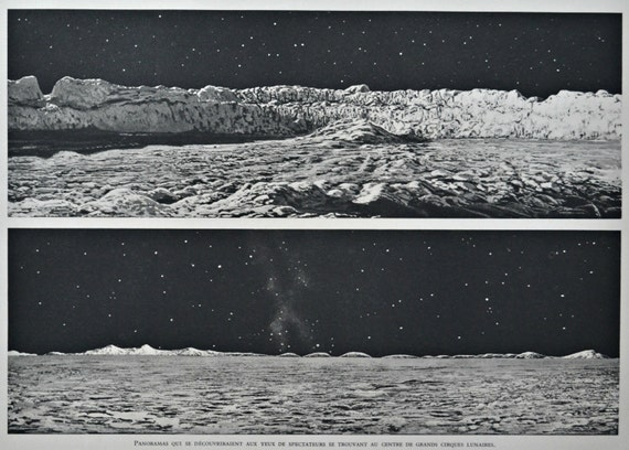 Moon surface. Astonomy print. Old book plate, 1937. Antique  illustration. 78 years lithograph. 9'4 x 12'1 inches.