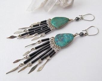 Bohemian Gypsy Earrings, Chandelier Earrings, Vintage Jewelry, Handmade Peruvian Earrings, Ethnic Boho Hippie Tribal Earrings, Long Dangle