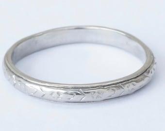 Antique 18k White Gold Belais Wedding Stacking Band Ring Size 7