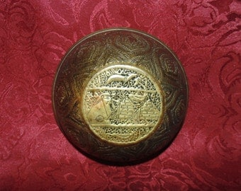 Egyptian Brass Bowl Hand Tooled Very Intricately Decorated