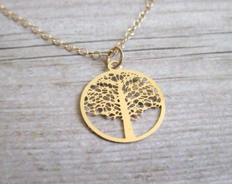 Gold Tree Necklace , Gold Filled Tree Of Life Necklace ,  Bridesmaids Tree Necklace , Delicate Tree Necklace , tree of life pendant
