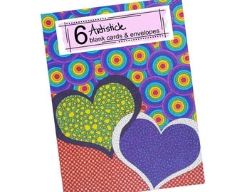 Heart Breaker Cards - Valentine's Day - Blank Greeting Cards - Thank You Notes - Rainbow Stationery - Colorful Fun Cards - Love You Notes