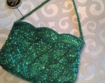 Vintage La Regale green sequin purse with tag